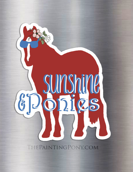 Sunshine and Ponies Sunglass Horse Equestrian Magnet