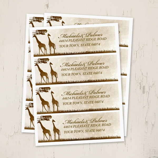African Giraffes Wedding Return Address Labels