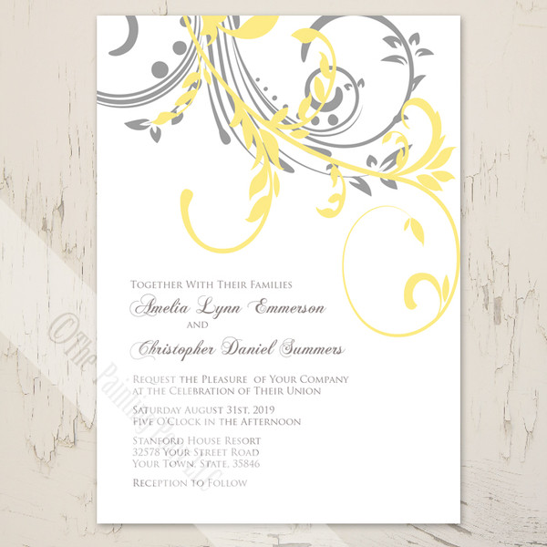 Yellow and Grey Double Floral Swirls Modern Wedding Invitations