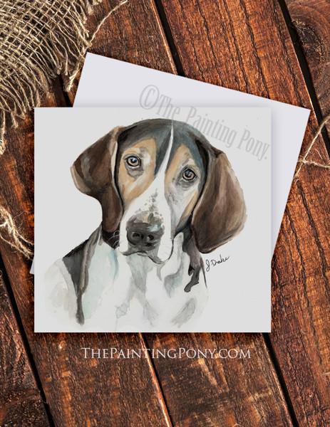 "Treeing Walker Coonhound ""Trooper"" Dog Art Note Cards (10 pk)"