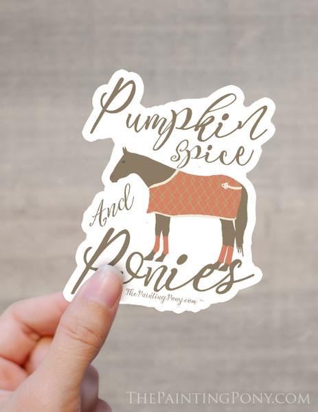 Pumpkin Spice and Ponies Equestrian Die-Cut Vinyl Sticker