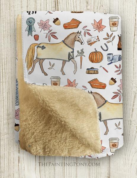 Fall Pony and Fox Pattern Equestrian Fleece Throw Blanket
