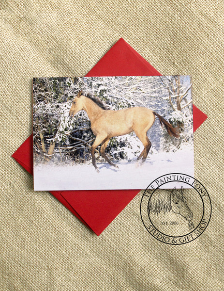 Buckskin Horse in the Snow Equestrian Christmas Cards (10 pk)
