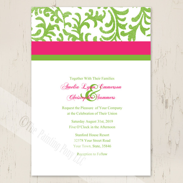 Pink and Lime Green Damask Wedding Invitation