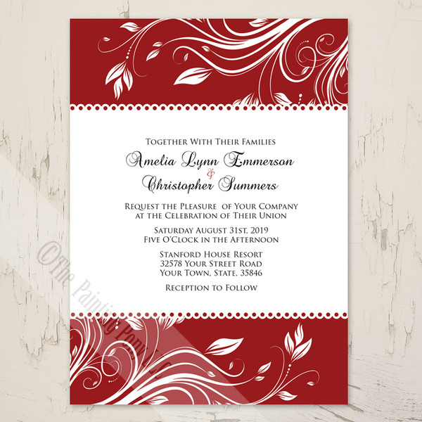 Red and White Floral Swirls Wedding Invitation