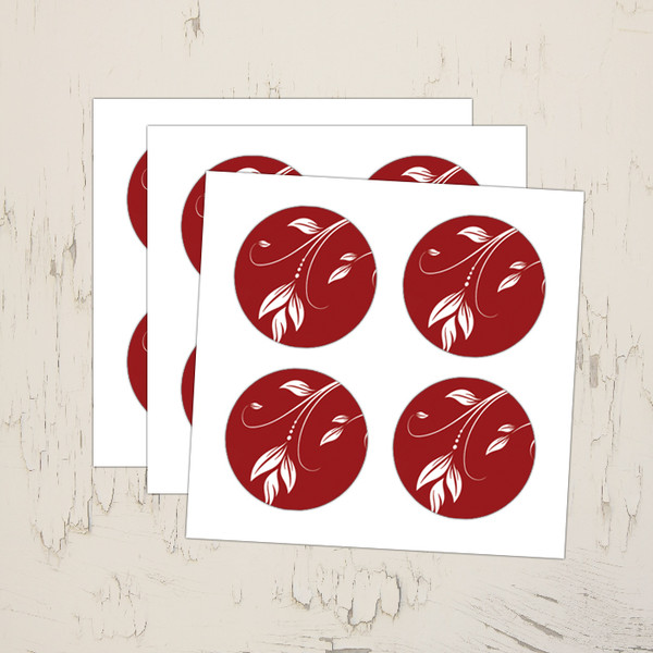 red and white floral swirls leaf stickers