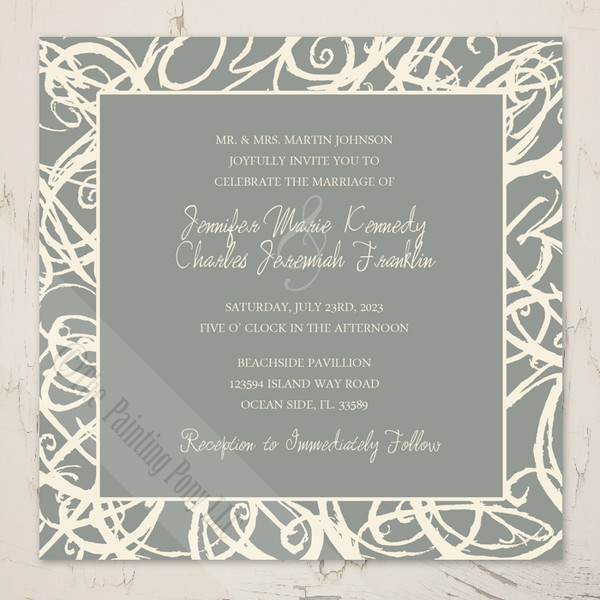 Cream and grey sketch frame artistic wedding invitation
