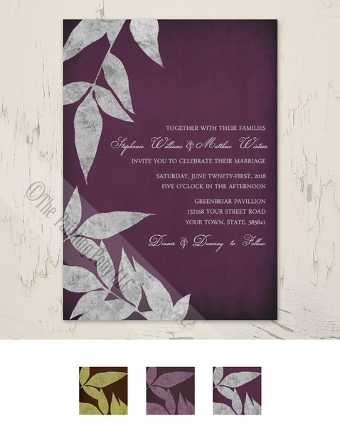 silver and purple colored fall leaves wedding invitation.
