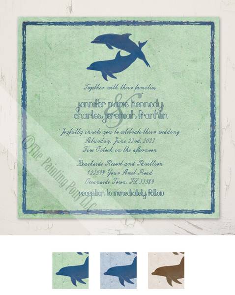 Blue Ocean Dolphin wedding invitation