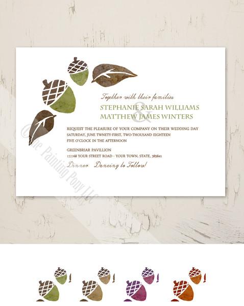 Brown and Green Fall Acorns Wedding Invitation