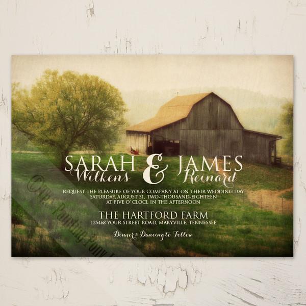 Country Horse Barn Farm Wedding Invitation