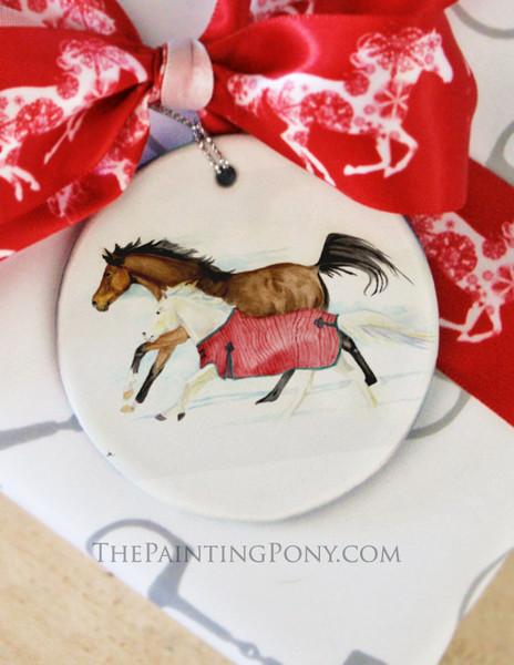 Galloping Horses Watercolor Art Equestrian Christmas Ornament