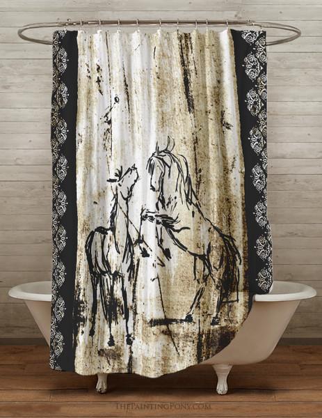 Rustic Rearing Horses Shower Curtain