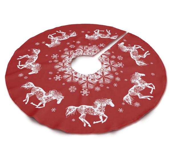 Equestrian Christmas Snowflakes Horse Tree Skirt