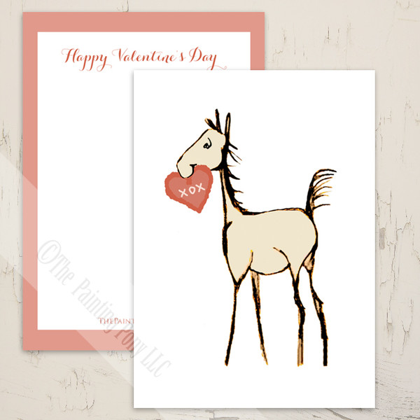 Horse Foal Equestrian Valentine's Day Card