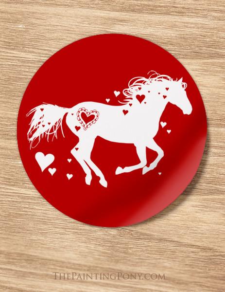 Red Heart Horse Valentine Stickers