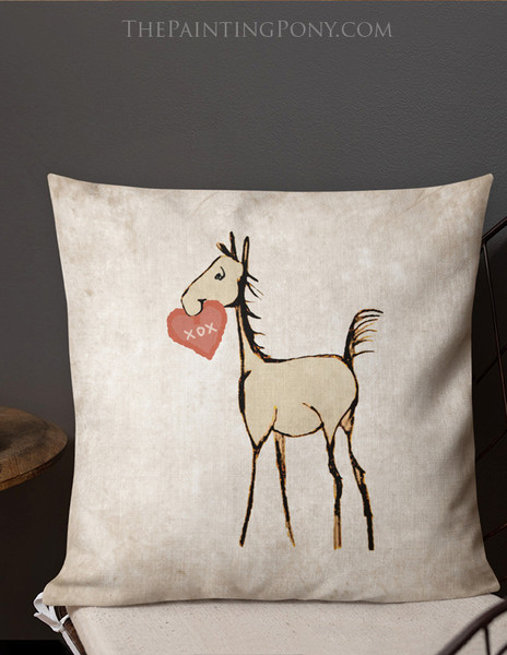 Horse Foal with Heart Valentine's Day Throw Pillow