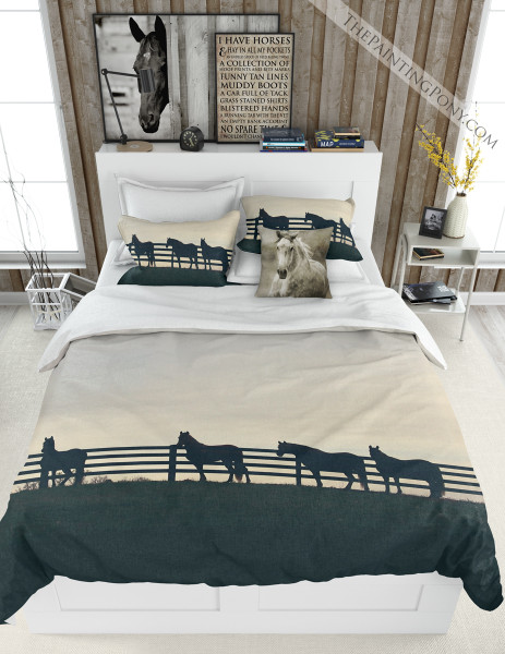Horses at the Fence Equestrian Bedding Set