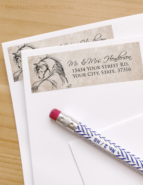 Rustic Horse Head Sketch Return Address Labels