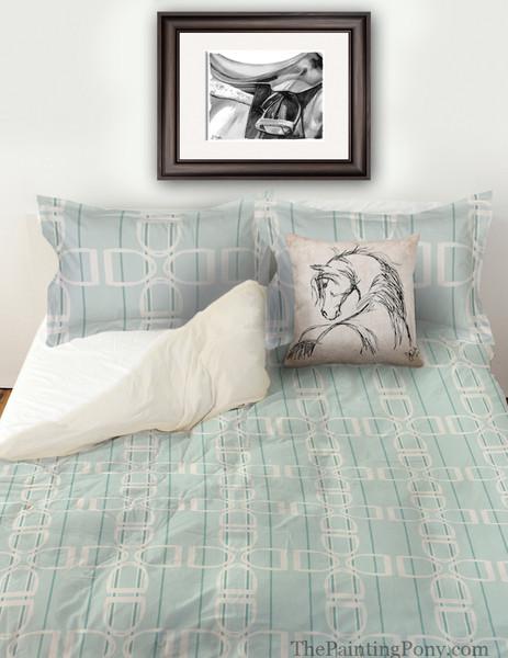 English Horse Stirrups Patterned Bedding Set