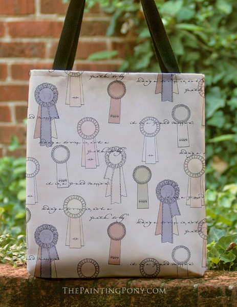Vintage Horse Show Ribbons Pattern Tote Bag