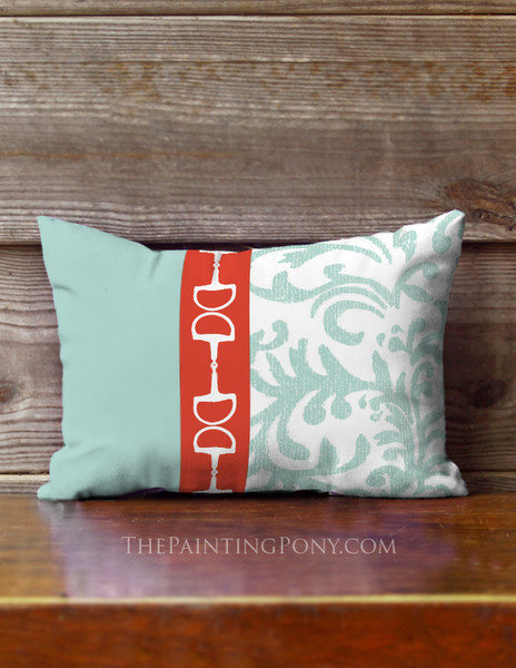 Red and Blue Damask Horse Bits Accent Pillow