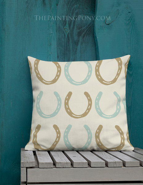 Horse Shoes Pattern Equestrian Throw Pillow