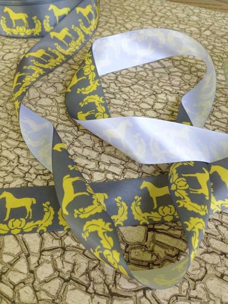 Yellow and Grey Damask Horse Ribbon