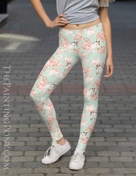 Horse Head Floral Pattern Equestrian Leggings (More Colors Available)