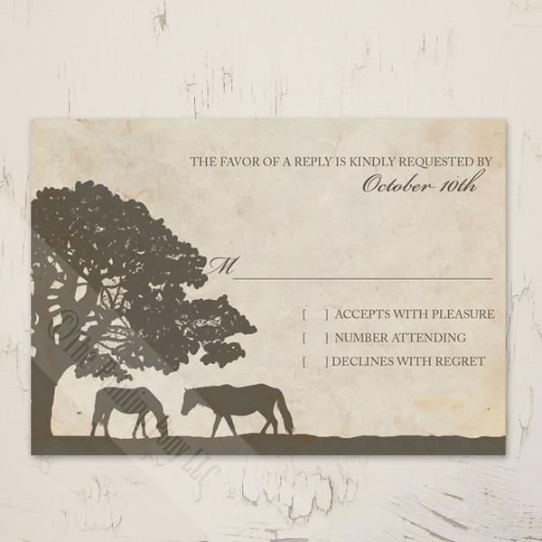 Vintage Horse Farm wedding rsvp card for the equestrian themed wedding