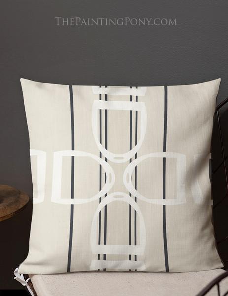 Stirrups Pattern Equestrian Throw Pillow