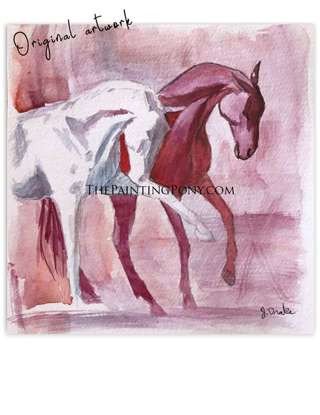 "Painting 6 out of 100  ""Two Dragons"" Equestrian Watercolor Painting"