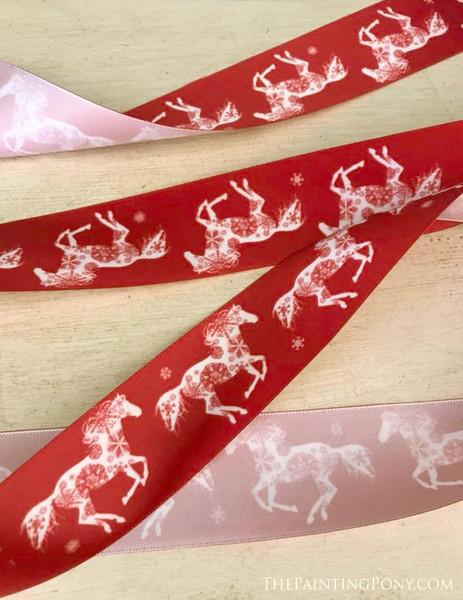 Snowflake Horse Christmas Ribbon