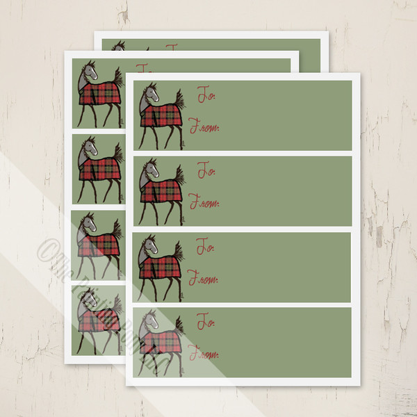 Cute Plaid Horse Foal Christmas Gift Tag Labels