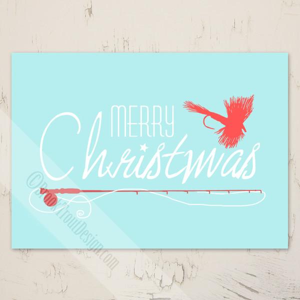 Fly Fishing themed Christmas Greeting Card
