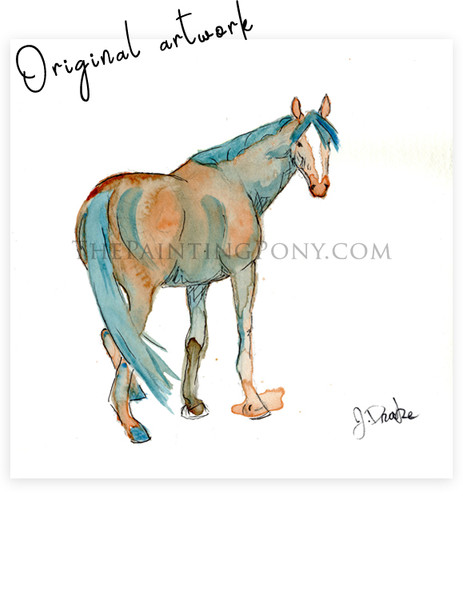 """Chestnut Mare"" Abstract Watercolor Painting"