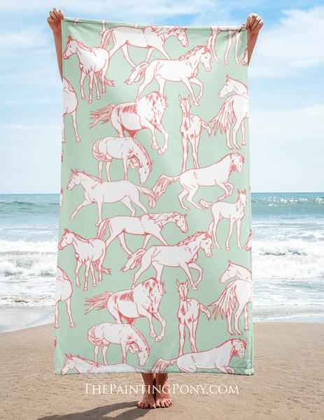 Horses All Over Equestrian Beach Towel