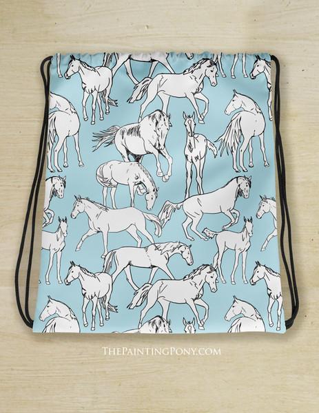 Horses All Over Equestrian Drawstring Gym Tote Bag