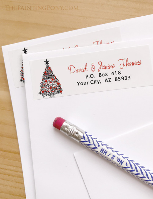 christmas tree sketch return address labels the painting pony