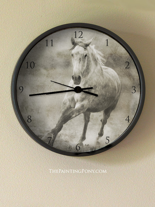 Galloping Grey Horse Wall Clock The Painting Pony