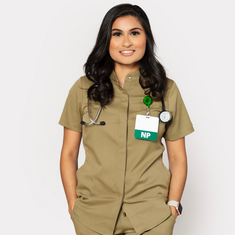 Dope Scrubs Olive Button Down