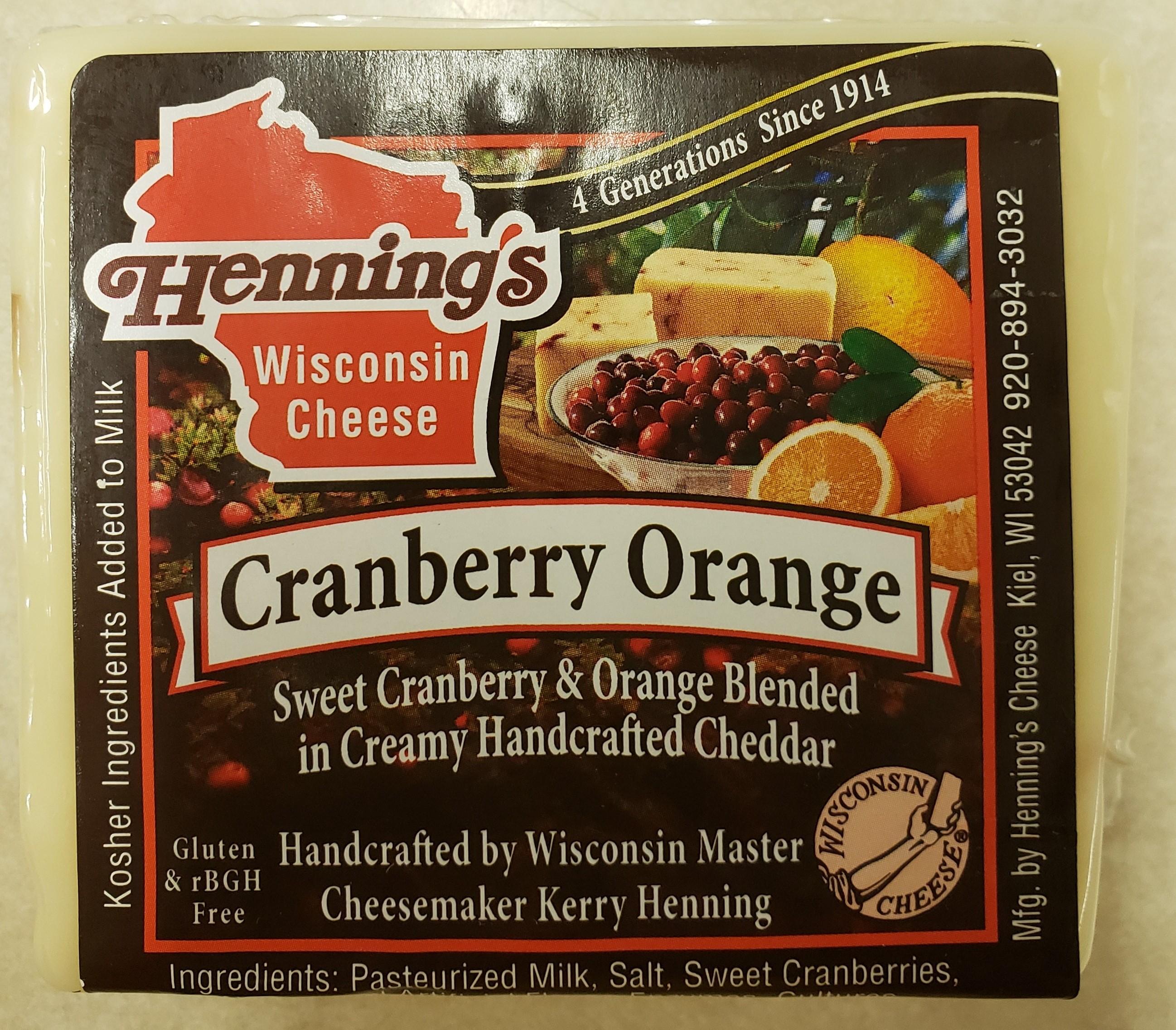 Henning's Cranberry Orange Cheddar Cheese