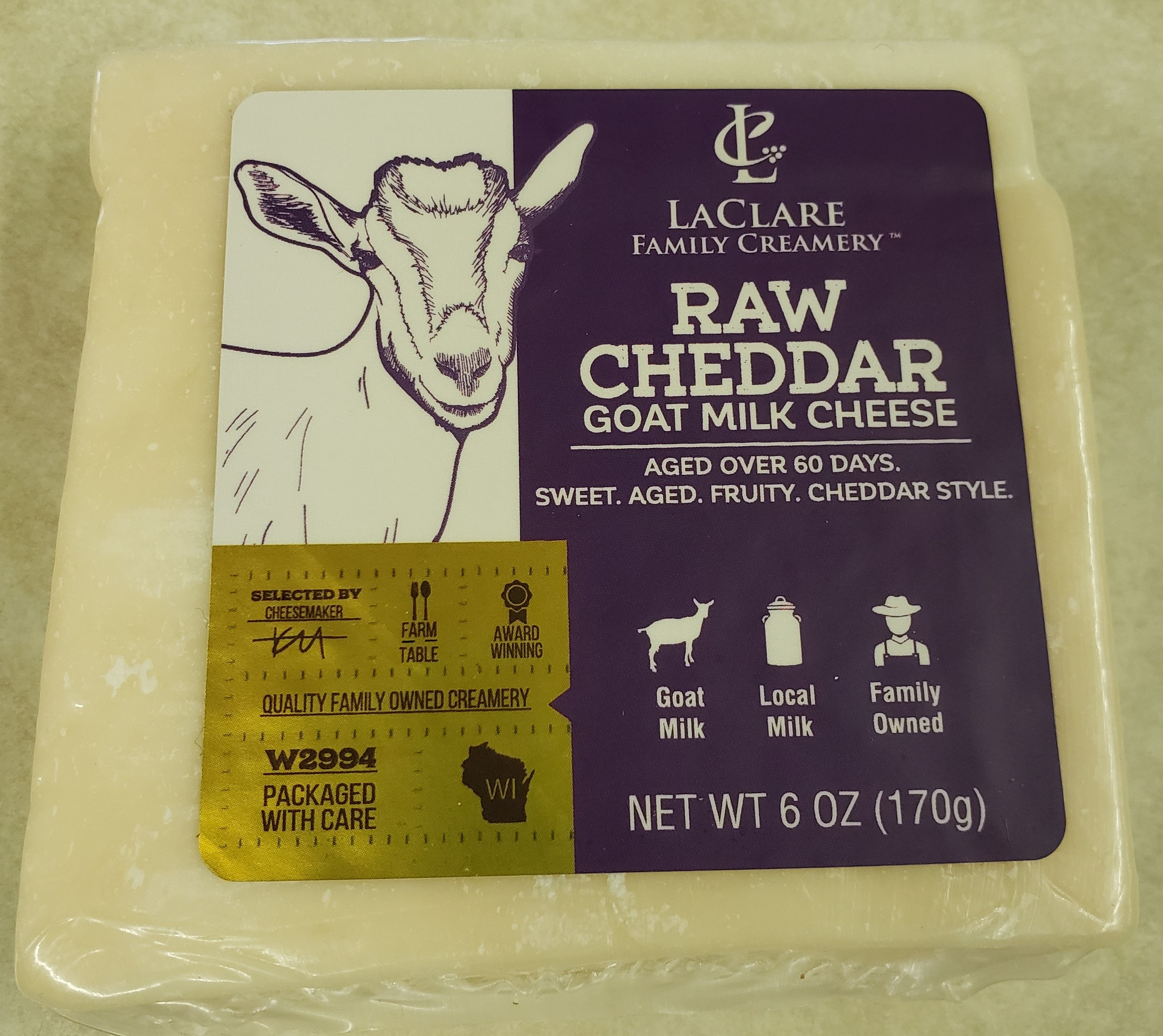 Laclare Family Creamery Raw Milk Cheddar Goat Cheese