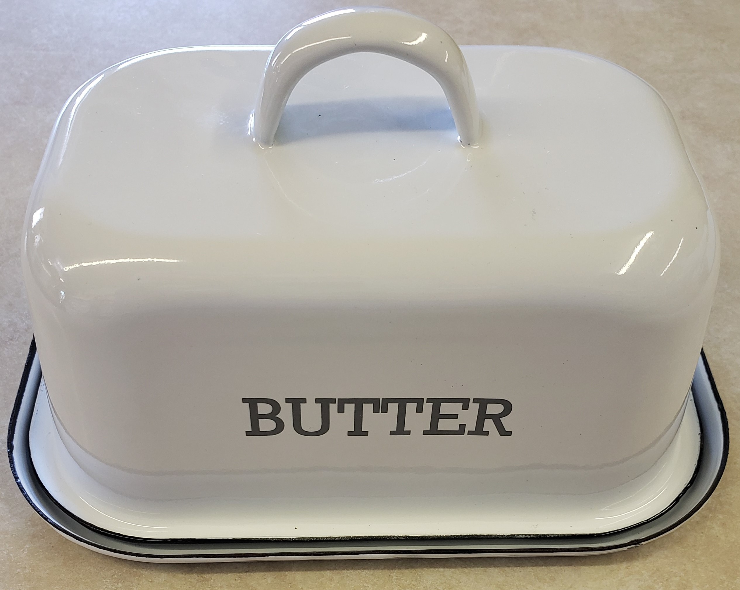 White Enamel Butter Dish