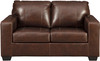 "RUIZ Brown 62"" Wide 100% Leather Loveseat"