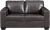 RUIZ Gray 100% Leather Sofa & Loveseat