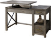 """JOHNY Distressed Gray 51"""" Wide Lift-Top Desk"""