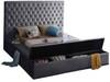 AZELL Gray Velvet Storage Bed