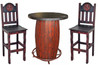 Red Rustic 3-PC Round Bar Table Set With Star