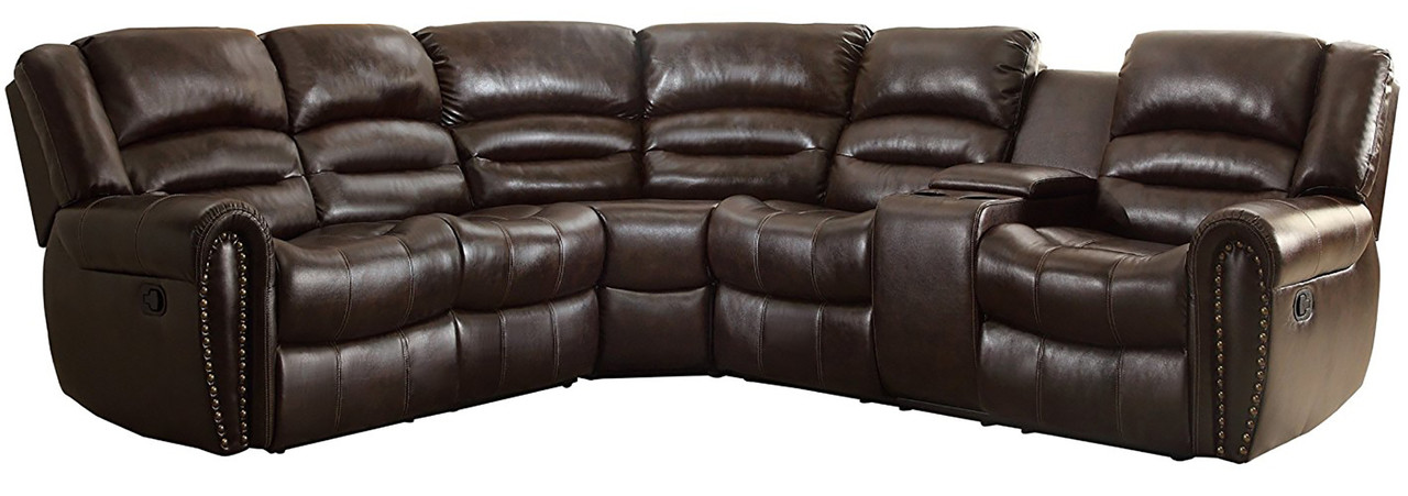 Cameren Dark Brown Bonded Reclining Sectional Right Console Cb